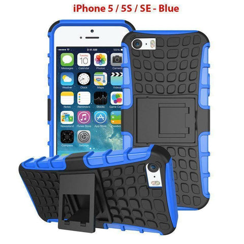 Heavy Duty Armor Phone Case Cover with Stand for iPhone 5 / 5S / SE - Blue - Cases