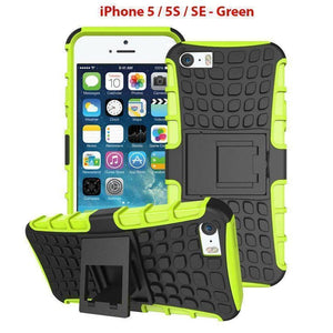 Heavy Duty Armor Phone Case Cover with Stand for iPhone 5 / 5S / SE - Green - Cases