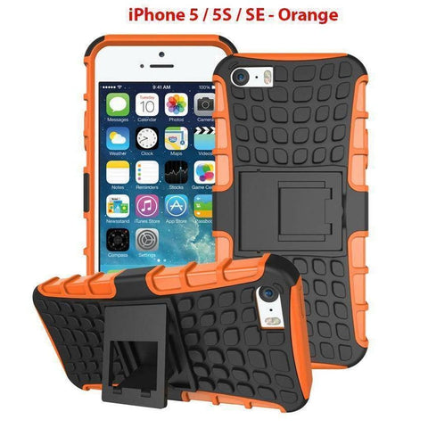 Heavy Duty Armor Phone Case Cover with Stand for iPhone 5 / 5S / SE - Orange - Cases