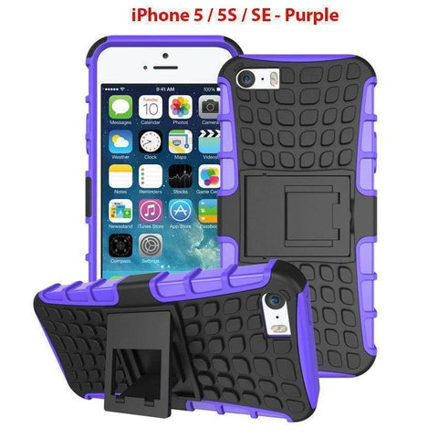 Heavy Duty Armor Phone Case Cover with Stand for iPhone 5 / 5S / SE - Purple - Cases