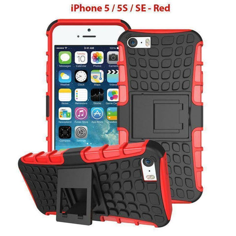Heavy Duty Armor Phone Case Cover with Stand for iPhone 5 / 5S / SE - Red - Cases