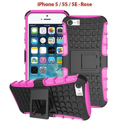 Heavy Duty Armor Phone Case Cover with Stand for iPhone 5 / 5S / SE - Rose - Cases