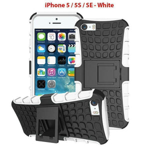 Heavy Duty Armor Phone Case Cover with Stand for iPhone 5 / 5S / SE - White - Cases