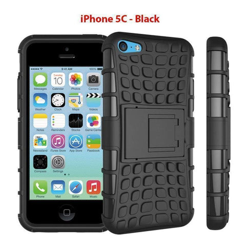 Image of Heavy Duty Armor Phone Case Cover with Stand for iPhone 5C - Black - Cases