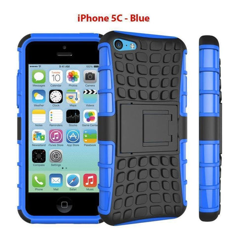 Image of Heavy Duty Armor Phone Case Cover with Stand for iPhone 5C - Blue - Cases