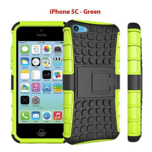Heavy Duty Armor Phone Case Cover with Stand for iPhone 5C - Green - Cases