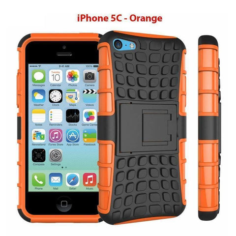 Image of Heavy Duty Armor Phone Case Cover with Stand for iPhone 5C - Orange - Cases