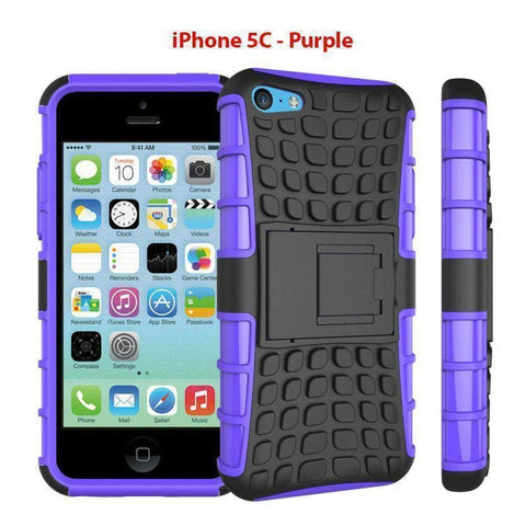 Image of Heavy Duty Armor Phone Case Cover with Stand for iPhone 5C - Purple - Cases