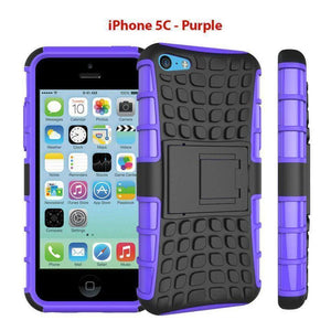 Heavy Duty Armor Phone Case Cover with Stand for iPhone 5C - Purple - Cases