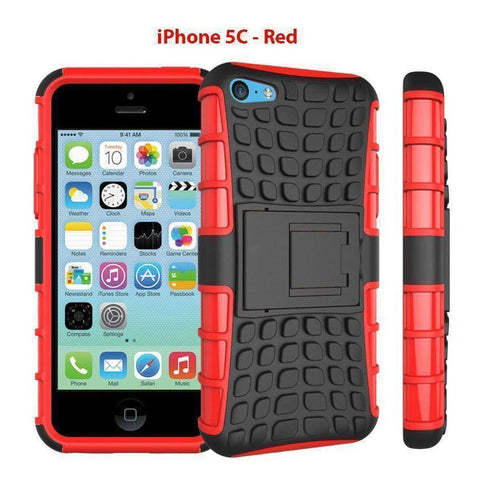 Image of Heavy Duty Armor Phone Case Cover with Stand for iPhone 5C - Red - Cases