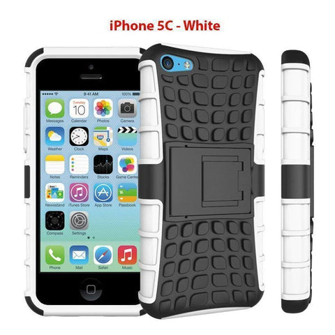 Image of Heavy Duty Armor Phone Case Cover with Stand for iPhone 5C - White - Cases