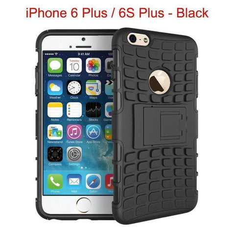 Heavy Duty Armor Phone Case Cover with Stand for iPhone 6 Plus / 6S Plus - Black - Cases
