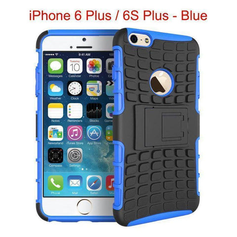 Image of Heavy Duty Armor Phone Case Cover with Stand for iPhone 6 Plus / 6S Plus - Blue - Cases