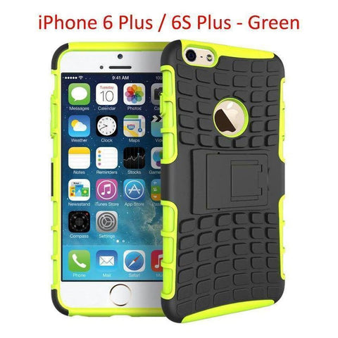 Heavy Duty Armor Phone Case Cover with Stand for iPhone 6 Plus / 6S Plus - Green - Cases