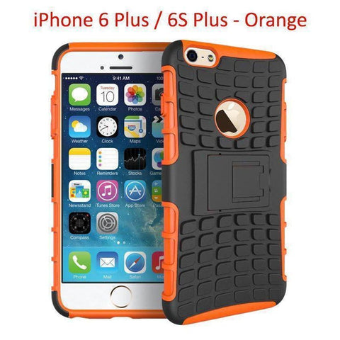 Heavy Duty Armor Phone Case Cover with Stand for iPhone 6 Plus / 6S Plus - Orange - Cases