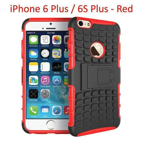 Heavy Duty Armor Phone Case Cover with Stand for iPhone 6 Plus / 6S Plus - Red - Cases