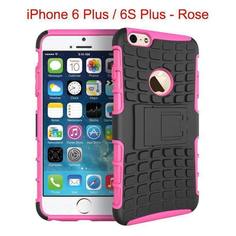 Heavy Duty Armor Phone Case Cover with Stand for iPhone 6 Plus / 6S Plus - Rose - Cases