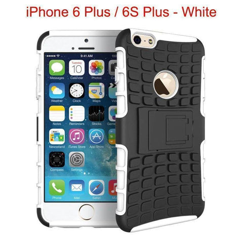 Heavy Duty Armor Phone Case Cover with Stand for iPhone 6 Plus / 6S Plus - White - Cases