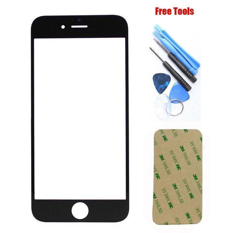 iPhone 4 Black Front Glass Lens with Adhesive and Free Tools - Front Glass
