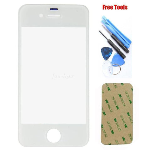 iPhone 4S 4GS White Front Glass Lens with Adhesive and Free Tools - Front Glass