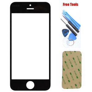 iPhone 5 5C 5S Black Front Glass Lens with Adhesive and Free Tools - Front Glass