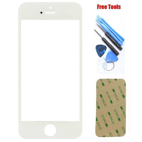 iPhone 5 5C 5S White Front Glass Lens with Adhesive and Free Tools - Front Glass