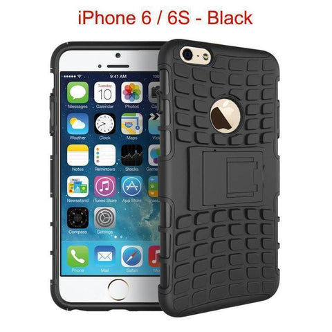 iPhone 6 / 6S Heavy Duty Armor Phone Case Cover with Stand - Black - Cases