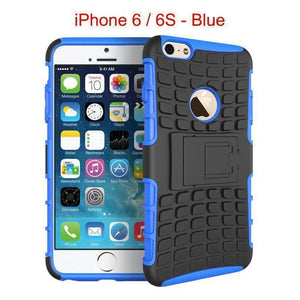 iPhone 6 / 6S Heavy Duty Armor Phone Case Cover with Stand - Blue - Cases