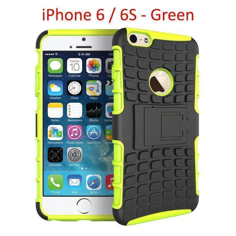 Image of iPhone 6 / 6S Heavy Duty Armor Phone Case Cover with Stand - Green - Cases