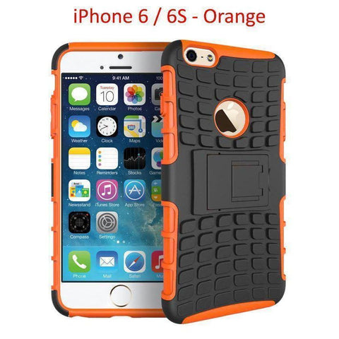 Image of iPhone 6 / 6S Heavy Duty Armor Phone Case Cover with Stand - Orange - Cases
