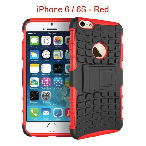 iPhone 6 / 6S Heavy Duty Armor Phone Case Cover with Stand - Red - Cases