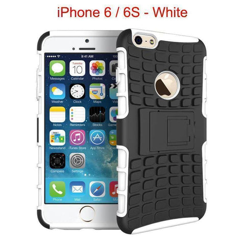 iPhone 6 / 6S Heavy Duty Armor Phone Case Cover with Stand - White - Cases