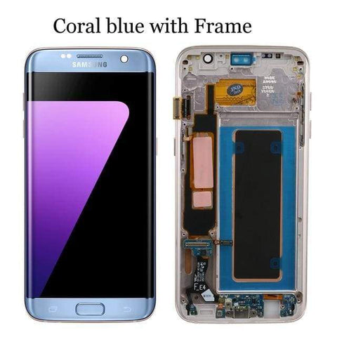Image of LCD Touch Screen Digitizer Display for Samsung Galaxy S7 Edge G935W8 G935A G935F - Blue with frame - LCDs & Digitizers