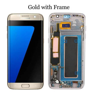 LCD Touch Screen Digitizer Display for Samsung Galaxy S7 Edge G935W8 G935A G935F - Gold with frame - LCDs & Digitizers