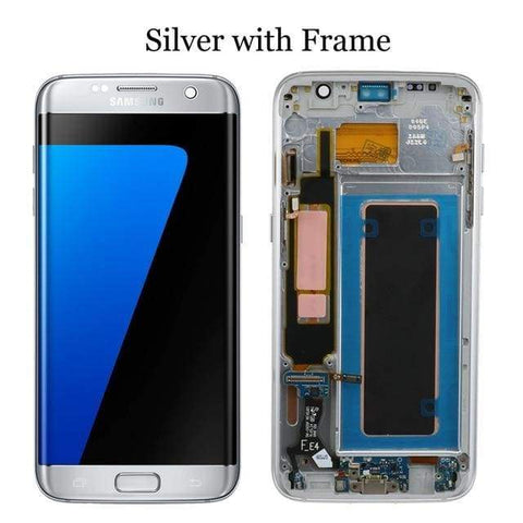 Image of LCD Touch Screen Digitizer Display for Samsung Galaxy S7 Edge G935W8 G935A G935F - Silver with frame - LCDs & Digitizers