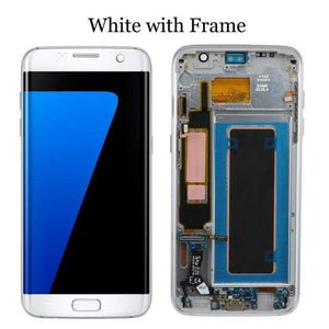 LCD Touch Screen Digitizer Display for Samsung Galaxy S7 Edge G935W8 G935A G935F - White with frame - LCDs & Digitizers