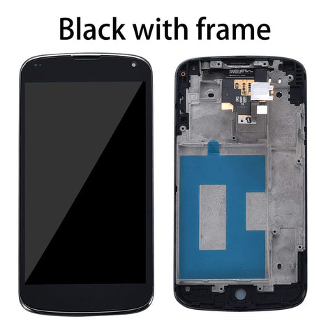 Image of LCD Touch Screen Digitizer Display with frame for LG Google Nexus 4 E960 - Black with Frame - LCDs & Digitizers
