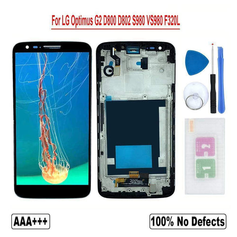 Image of LCD Touch Screen Digitizer for LG Optimus G2 D800 D801 D802 D803 D805 D806 LS980 - D800 Black With Frame - LCDs & Digitizers