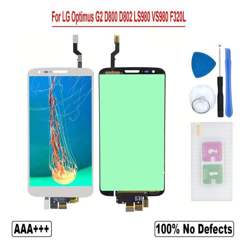 Image of LCD Touch Screen Digitizer for LG Optimus G2 D800 D801 D802 D803 D805 D806 LS980 - F320 White No frame - LCDs & Digitizers