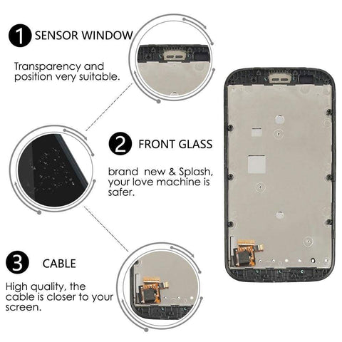 Image of LCD Touch Screen Digitizer + Frame for Motorola Moto E XT1021 XT1022 XT1025 - Black | With Frame - LCD's & Digitizers