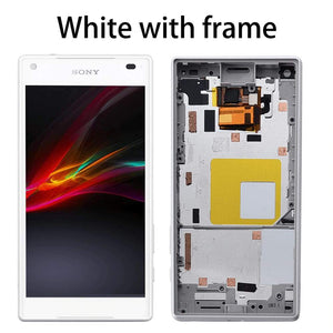 LCD Touch Screen Digitizer + Frame for Sony Xperia Z5 Compact E5803 E5823 - White With Frame - LCDs & Digitizers