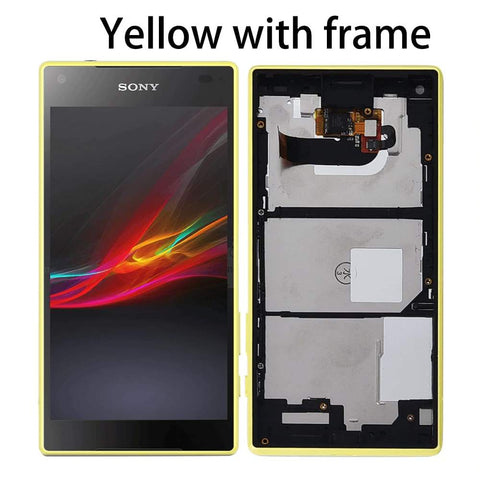 Image of LCD Touch Screen Digitizer + Frame for Sony Xperia Z5 Compact E5803 E5823 - Yellow With Frame - LCDs & Digitizers