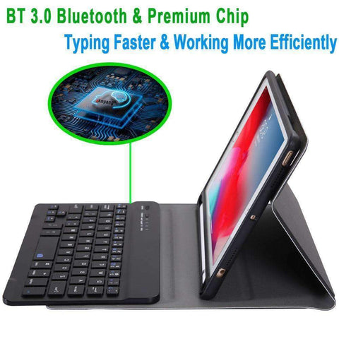 Leather Pencil Slot Keyboard Case for Apple iPad mini 4 mini 5 with Removable Bluetooth Keyboard - Accessories