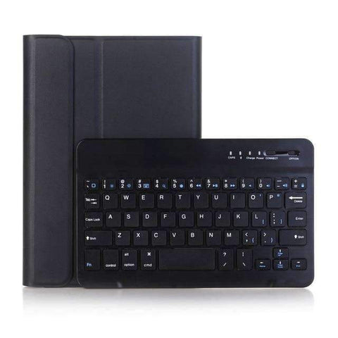 Leather Pencil Slot Keyboard Case for Apple iPad mini 4 mini 5 with Removable Bluetooth Keyboard - Black - Accessories