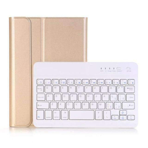 Leather Pencil Slot Keyboard Case for Apple iPad mini 4 mini 5 with Removable Bluetooth Keyboard - Gold - Accessories