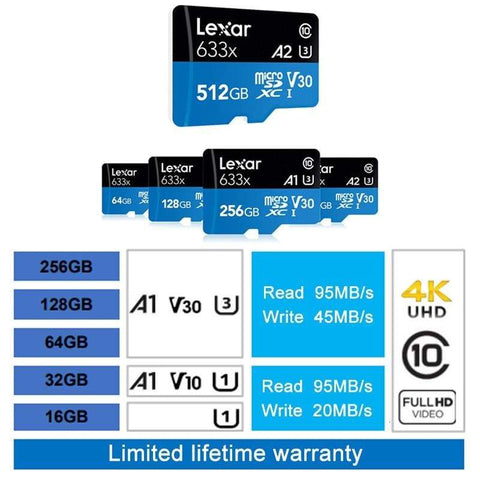 Image of Lexar 633x Class 10 Micro SD Memory Card High Speed 32GB 64GB 128GB 256GB 512GB - Micro SD Cards
