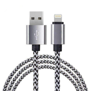 Lightning USB Cable Data Charging 1M 2M Apple iPhone X 8 7 Plus 6 iPad Braided - 1M 3.3ft / Silver - Accessories