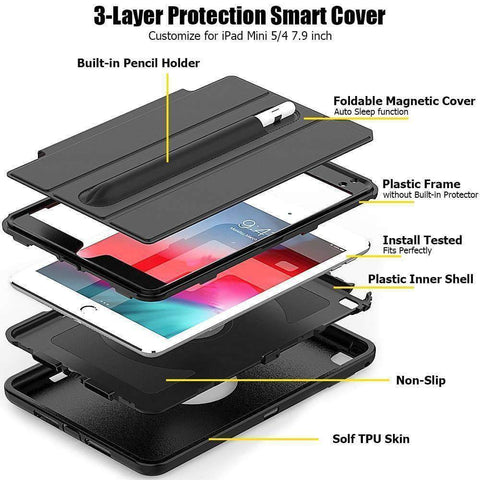Image of Magnetic Smart Sleep Awake Trifold Case Cover for iPad Mini 4 Mini 5 A1538 A2133 - Accessories