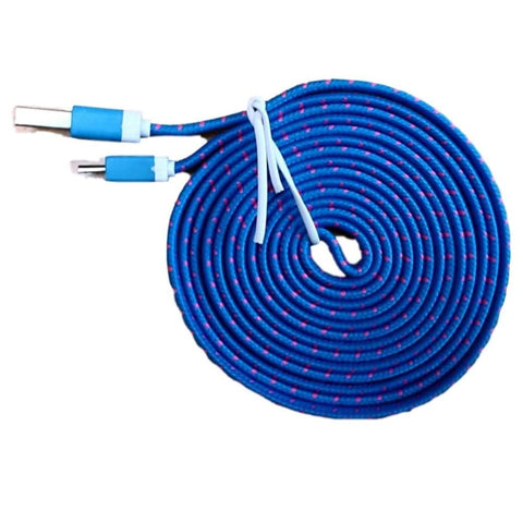 Micro USB Sync Data Charge Braided Flat Cable 6 Feet (6 FT) 2 Meters (2 M) - Blue - Charging Cables