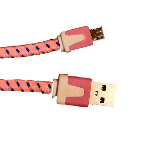Micro USB Sync Data Charge Braided Flat Cable 6 Feet (6 FT) 2 Meters (2 M) - Charging Cables